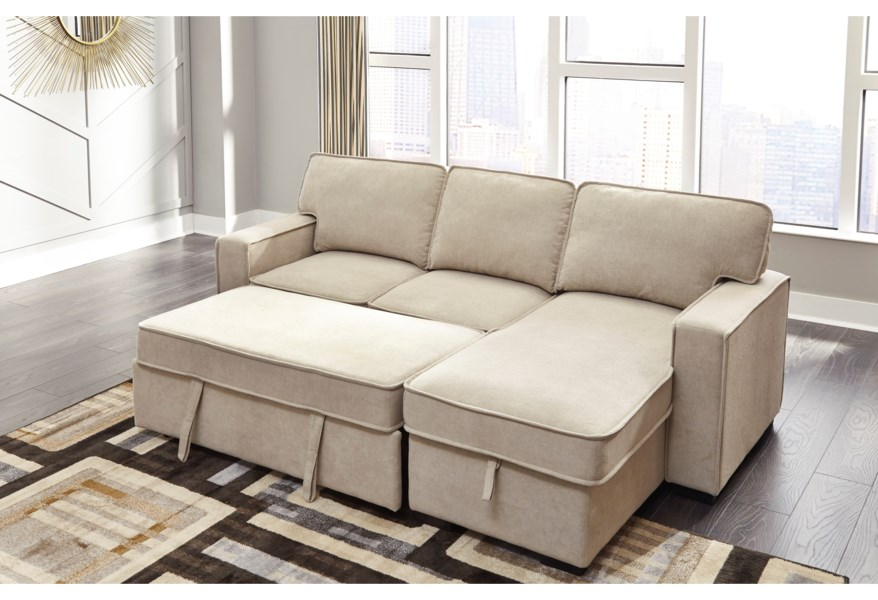 Signature Design By Ashley Darton 7350645 17 Sofa Chaise With Pop Up Bed Storage Chaise Northeast Factory Direct Sectional Sofas