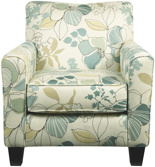 Signature Design by Ashley Daystar - Seafoam Contemporary Accent Chair with Floral Fabric