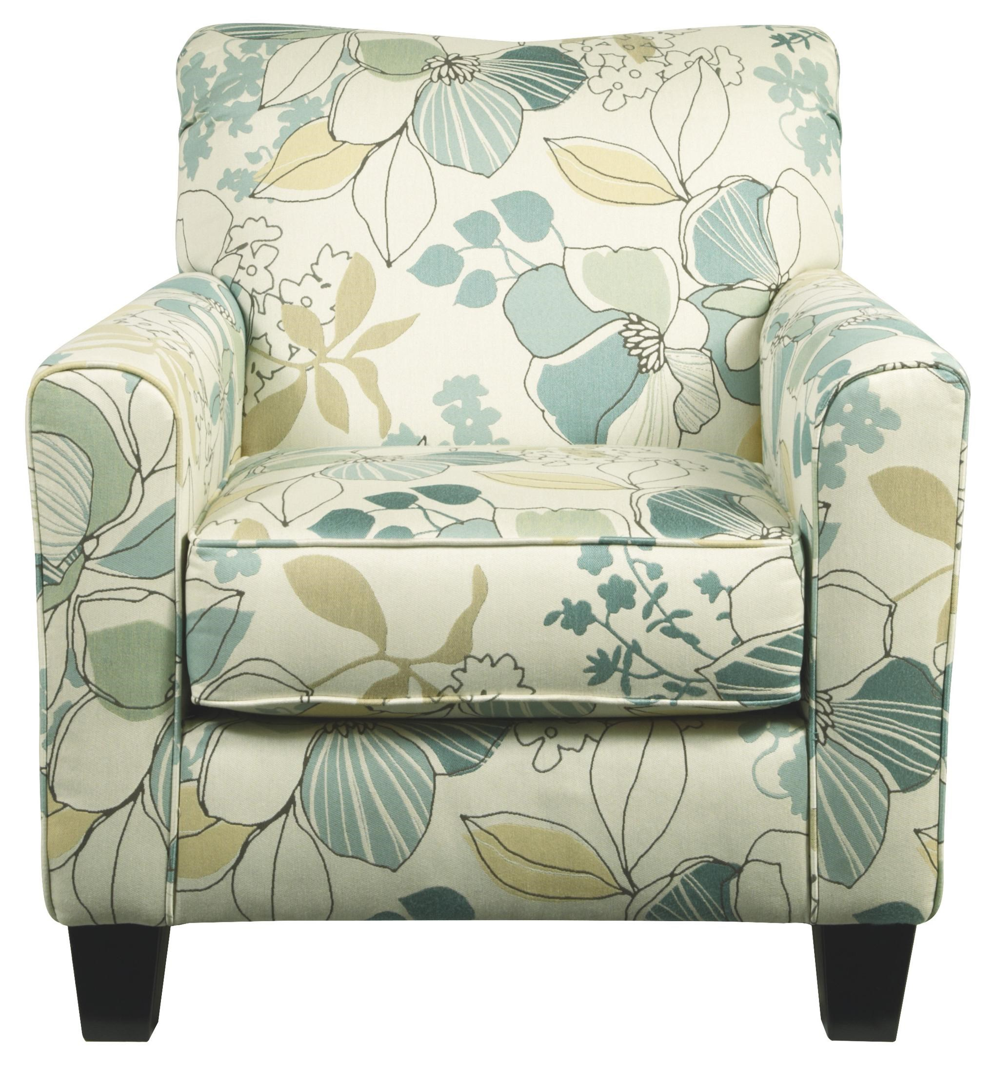 Signature Design By Ashley Daystar   Seafoam Contemporary Accent Chair With Floral  Fabric