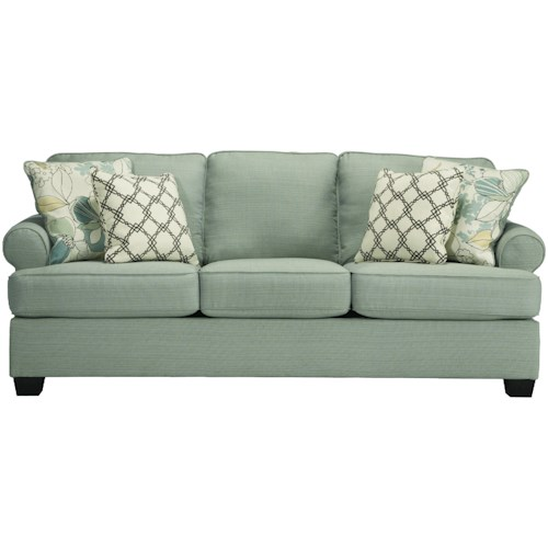 Signature Design by Ashley Daystar - Seafoam Contemporary Sofa with Rolled Arms & Reversible Seat Cushions