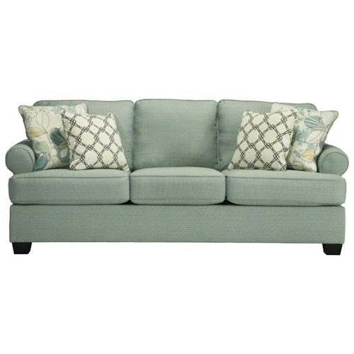 Signature Design by Ashley Daystar - Seafoam Contemporary Queen Sofa Sleeper with Rolled Arms & Reversible Seat Cushions