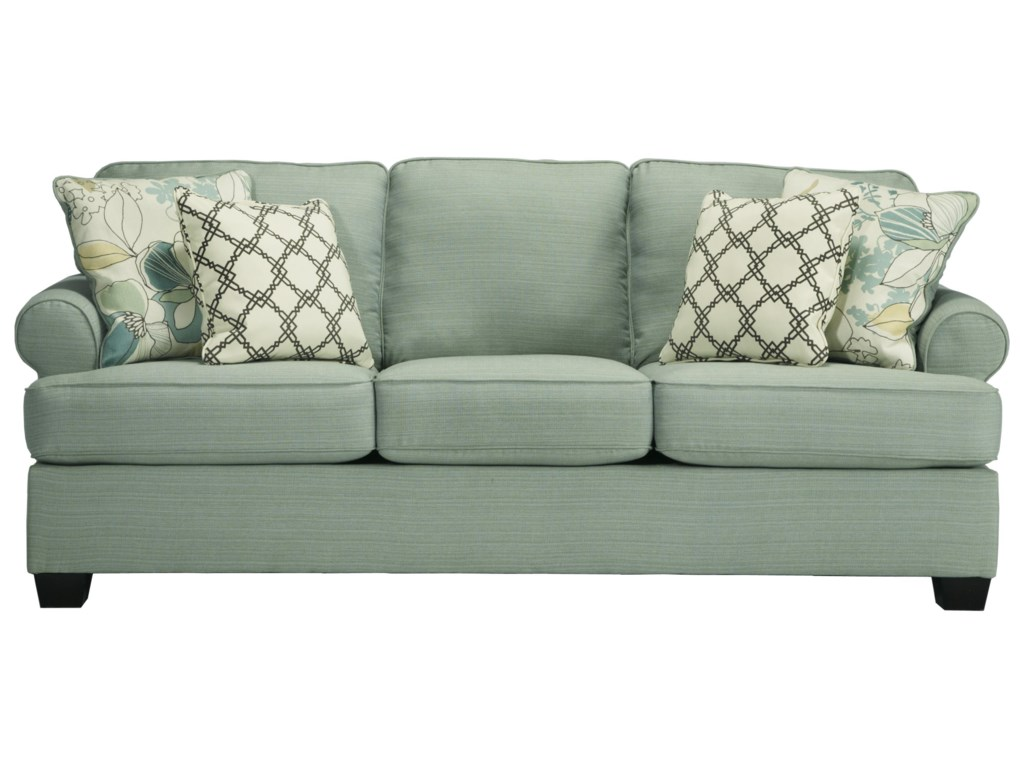 Signature design by ashley daystar seafoam contemporary queen sofa sleeper with rolled arms reversible seat cushions