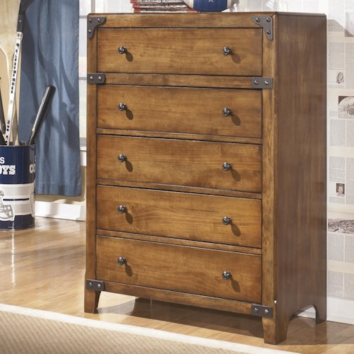 Signature Design By Ashley Cole 5 Drawer Chest In Rustic Pine