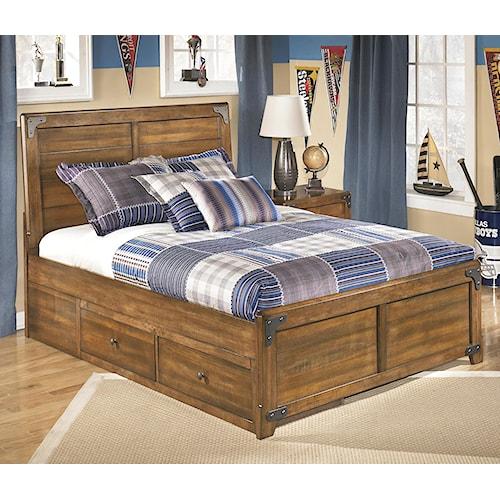Signature Design By Ashley Delburne Full Platform Pedestal Bed With Storage