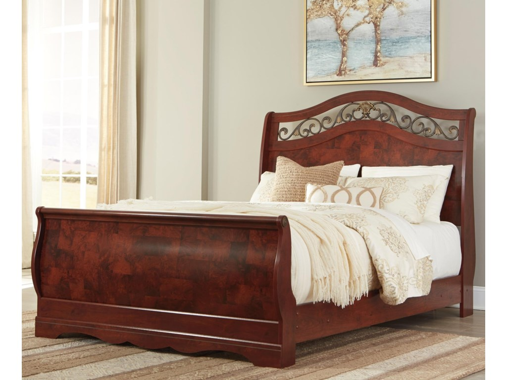 ashley signature design delianna traditional queen sleigh bed dunk bright furniture sleigh bed - Queen Sleigh Bed Frame