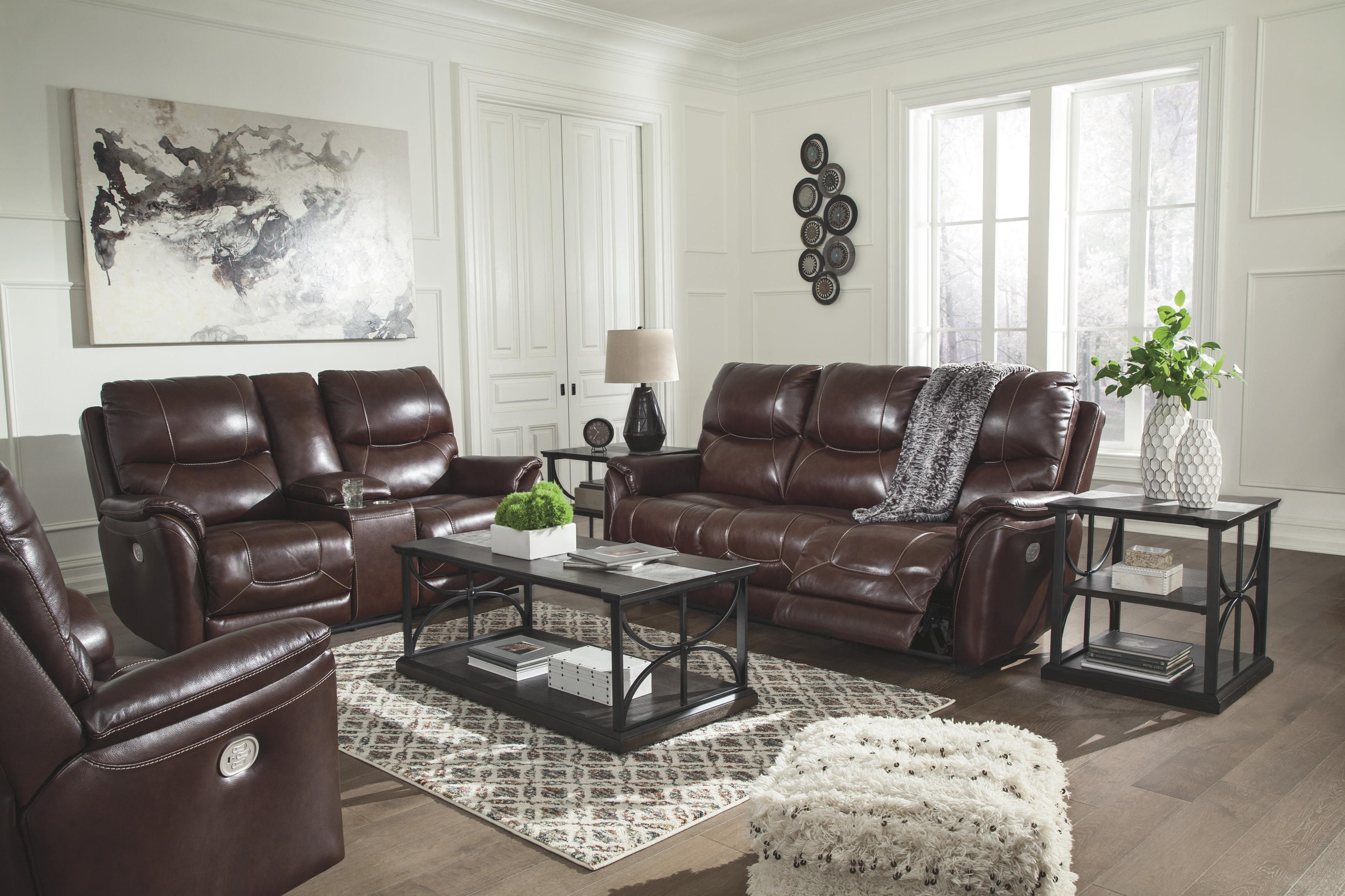 Signature Design By Ashley Dellington U1150515 18 13 Power Reclining Sofa With Adjustable Headrest Power Reclining Loveseat With Console And Adjustable Headrest And Power Recliner With Adjustable Headrest Set Sam Levitz Furniture