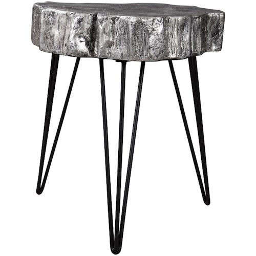 Signature Design by Ashley Dellman Antique Silver Finish Wood Stump Style Accent Table with Hairpin Legs