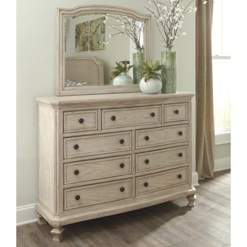 Signature Design by Ashley Demarlos Vintage Parchment White Finish Dresser with 9 Drawers & Bedroom MIrror