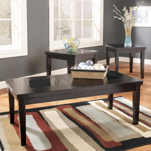 Signature Design by Ashley Denja 3-in-1 Pack Occasional Tables with Black Glass Insert Tops
