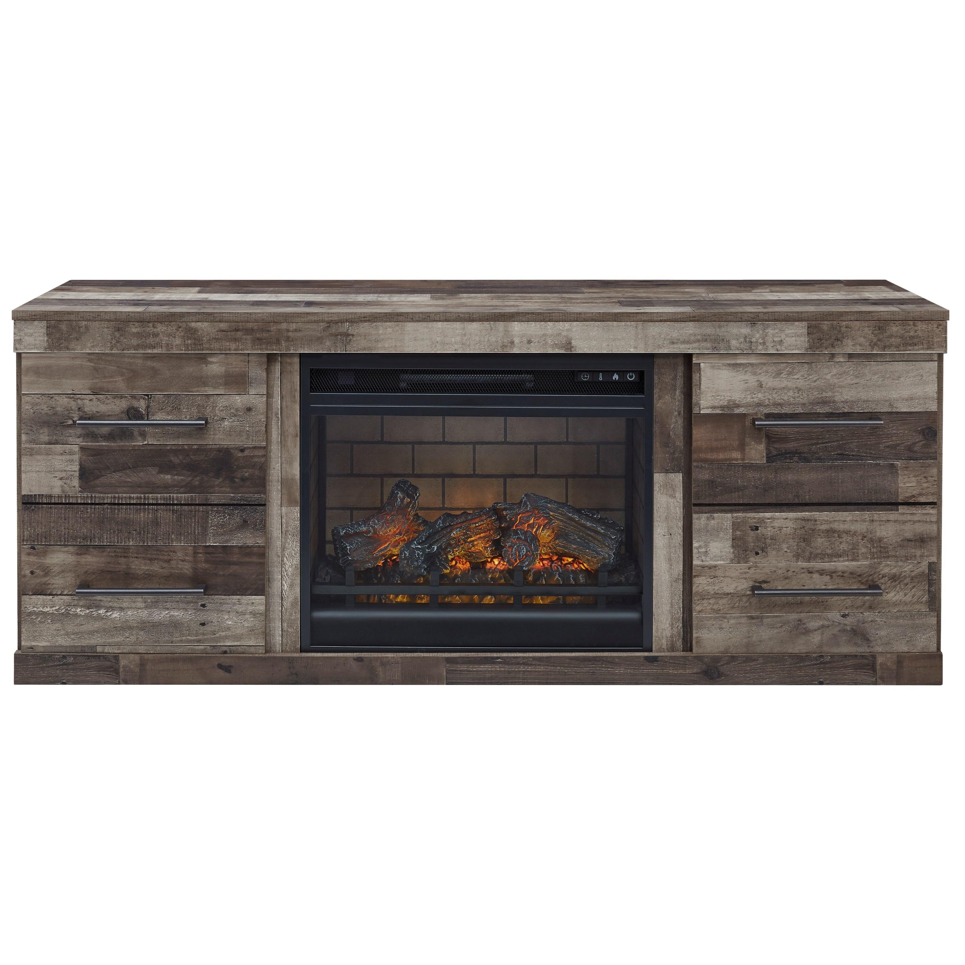 Rustic 2-Door Fireplace Console