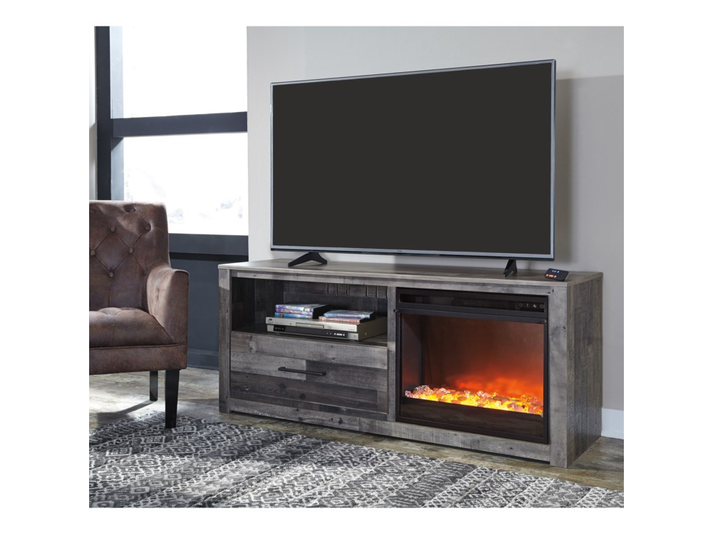 Ashley Signature Design DereksonTV Stand with LED Fireplace