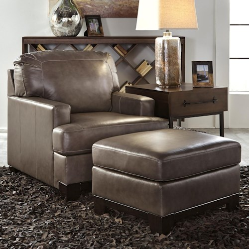 Signature Design by Ashley Derwood Contemporary Leather Match Upholstered Chair & Ottoman