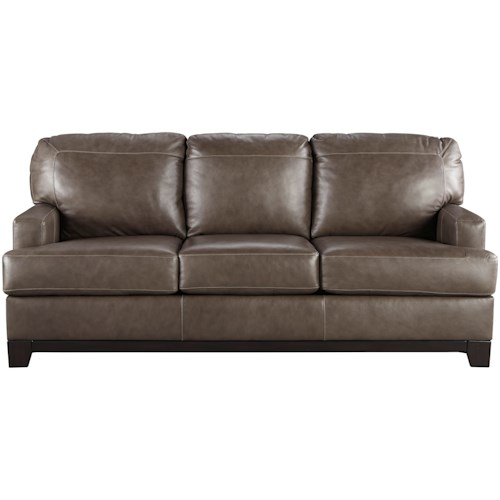 Signature Design By Ashley Derwood Contemporary Leather Match Queen Sofa Sleeper