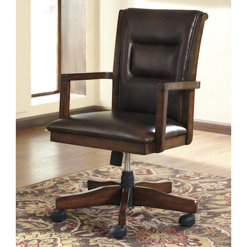 Signature Design by Ashley Derrick Home Office Desk Chair with Exposed Wood Arms
