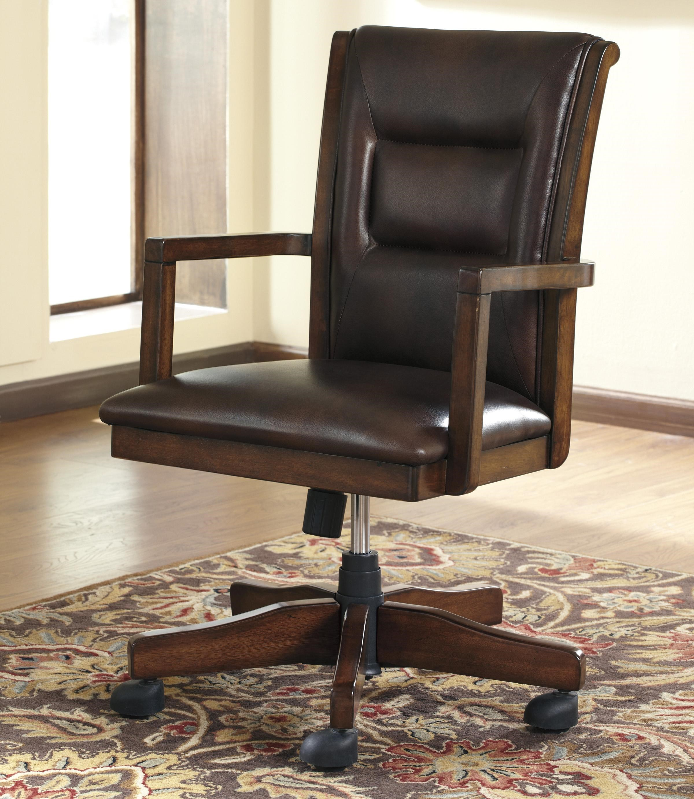 Ordinaire Signature Design By Ashley Devrik Home Office Desk Chair With Exposed Wood  Arms