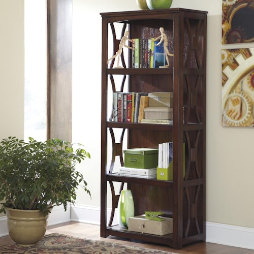 Signature Design by Ashley Devrik Medium Brown Contemporary Bookcase with 4 Shelves