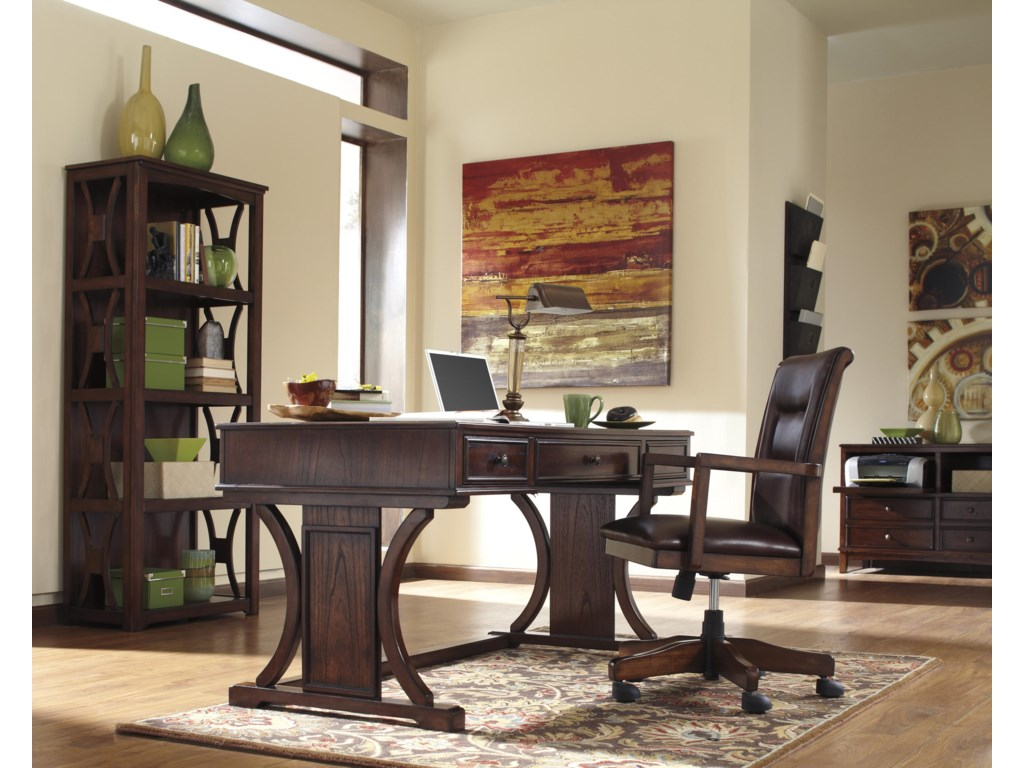 Signature Design By Ashley Devrik Home Office Desk With Drop Down Keyboard Tray