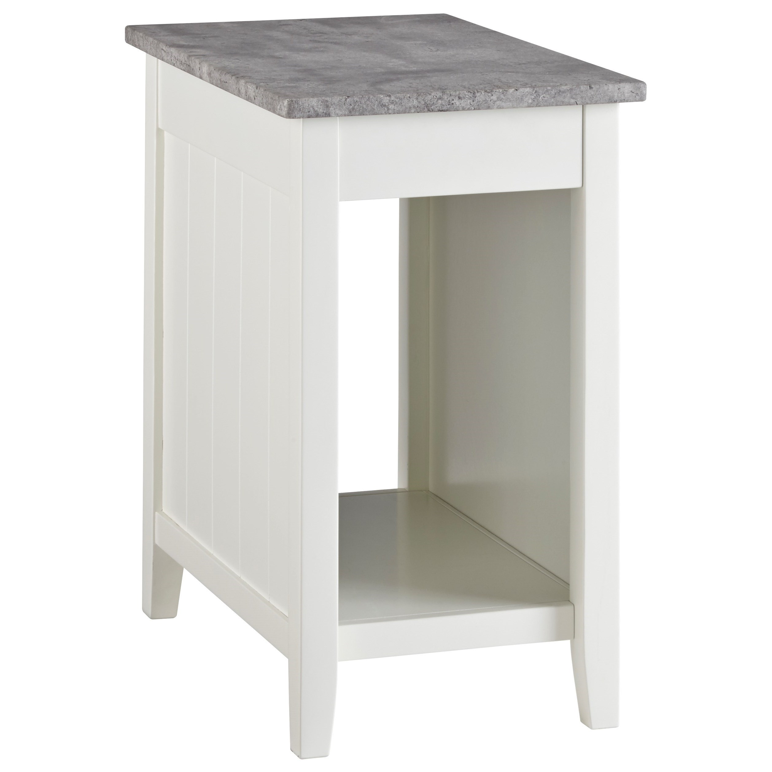 White Paint Chair Side End Table with Faux Concrete Top