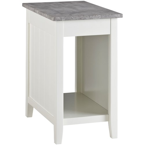 Signature Design by Ashley Diamenton White Paint Chair Side End Table with Faux Concrete Top