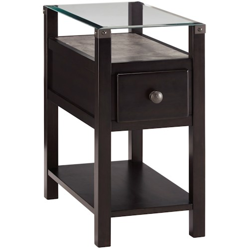 Signature Design by Ashley Diamenton Almost Black Chair Side End Table with Glass Top and Faux Concrete Shelf