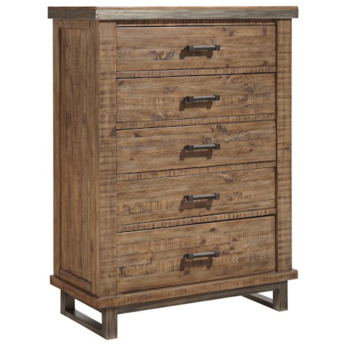 Signature Design by Ashley Dondie Modern Rustic Solid Wood Five Drawer Chest with Metal Legs and Metal Banding