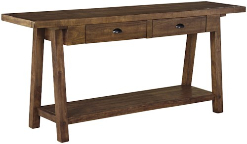 Signature Design by Ashley Dondie Casual Rustic Sofa Table with 2 Drawers