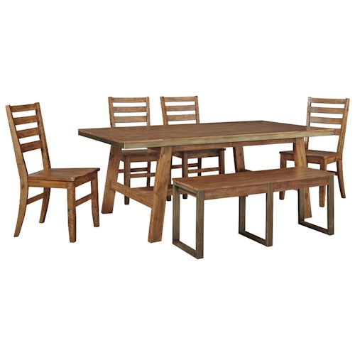 Signature Design by Ashley Dondie 6-Piece Solid Wood Rectangular Dining Table Set with Bench