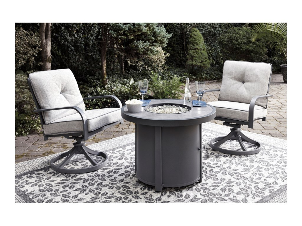 Benchcraft Donnalee Bay3 Piece Fire Pit Chat Set