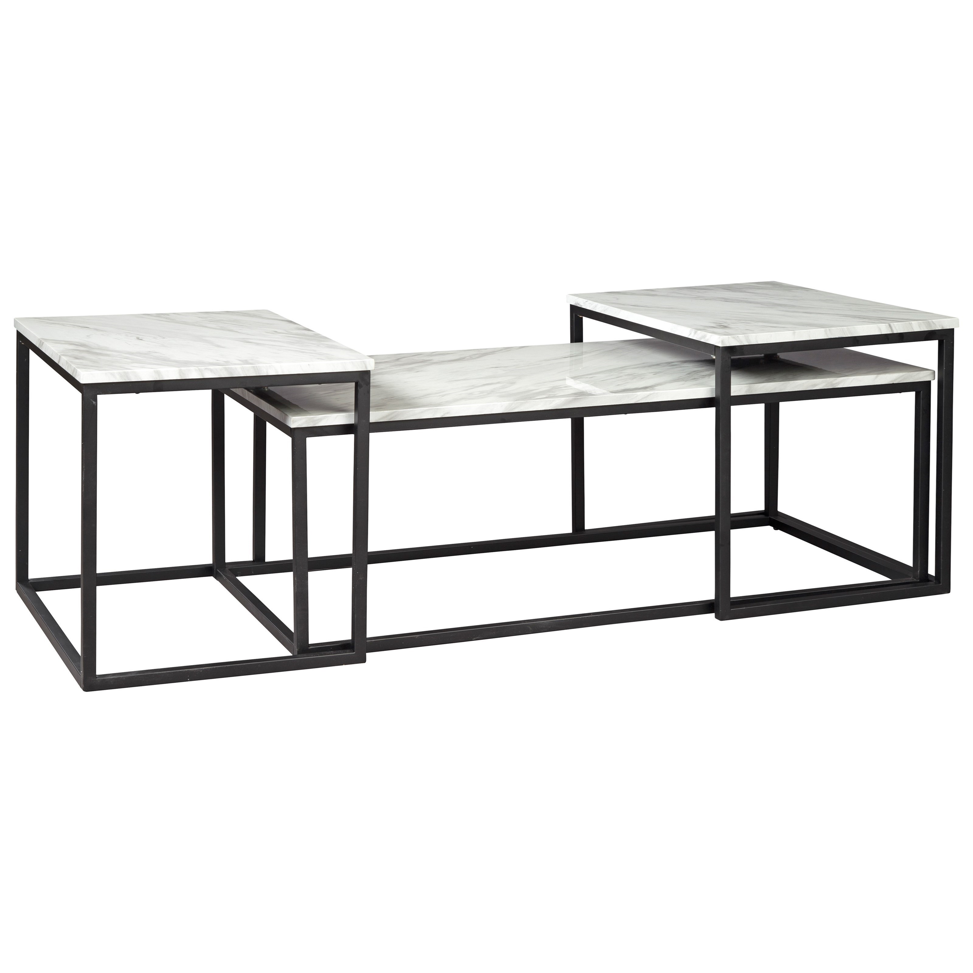3-Piece Nesting Occasional Table Set with White Faux Marble Tops