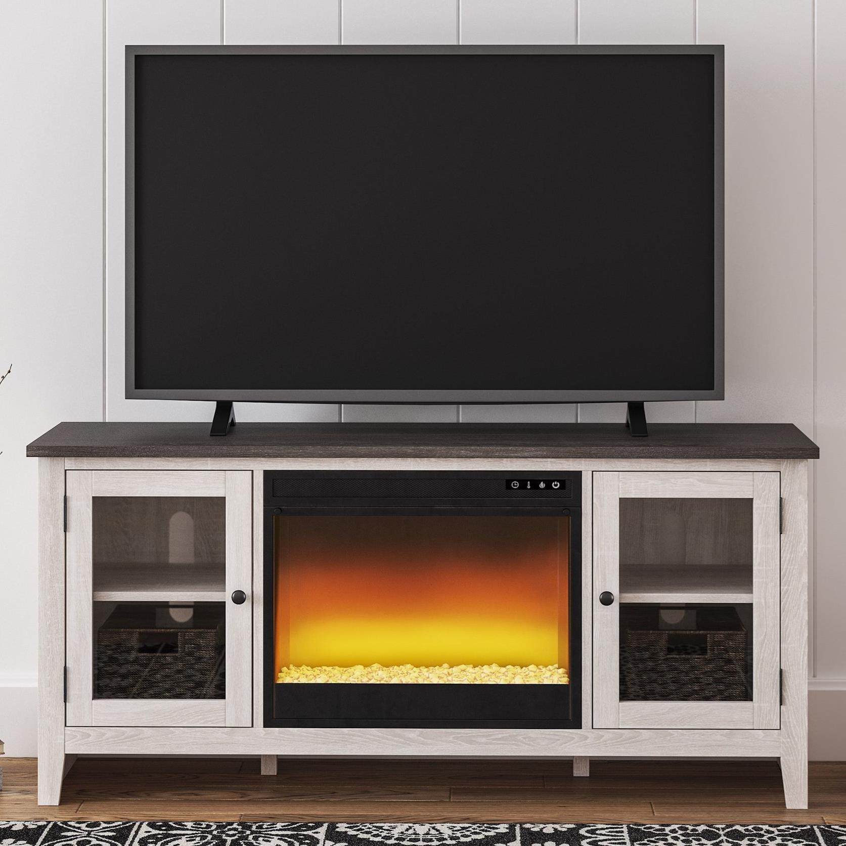 Two-Tone Large TV Stand w/ Fireplace Insert and Glass Doors