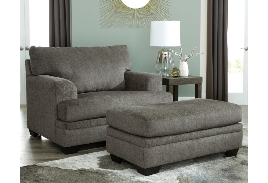 Signature Drew Contemporary Chair And A Half With Ottoman