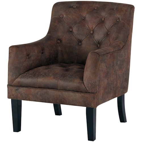 Signature Design by Ashley Drakelle Tufted Accent Chair in Distressed Brown Faux Leather