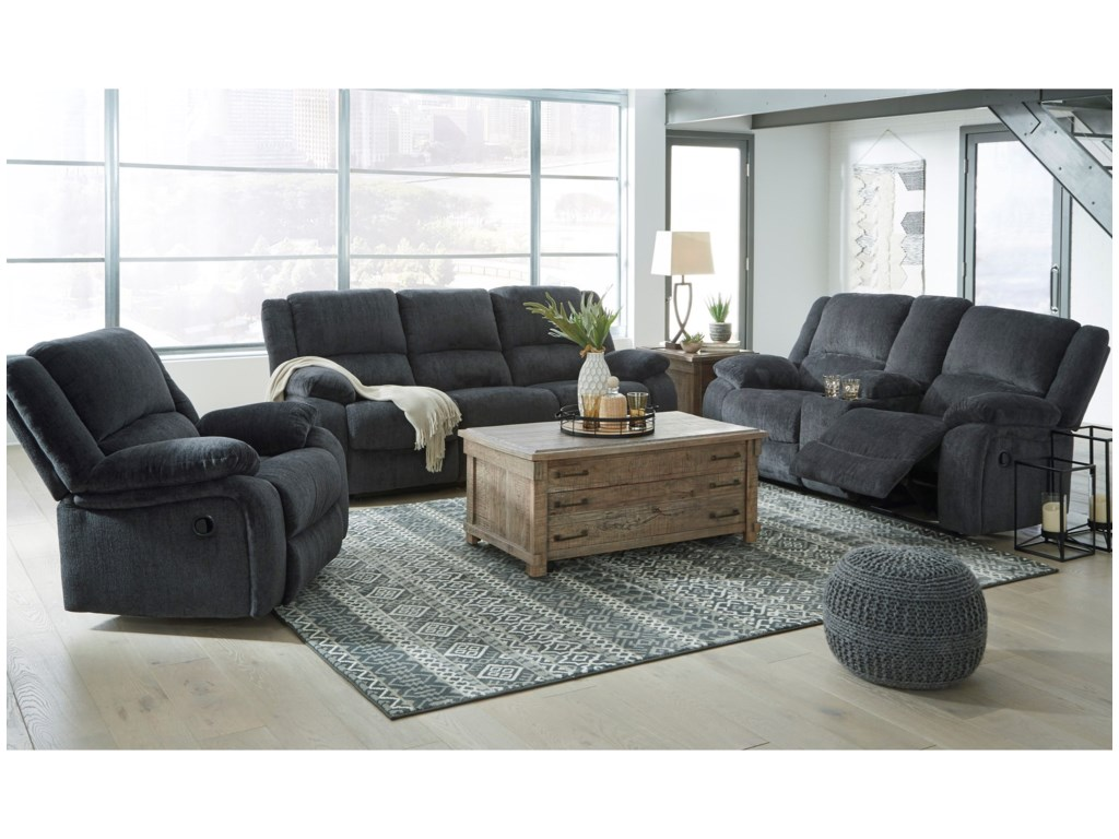 Signature Design by Ashley DraycollDouble Reclining Power Loveseat w/ Console