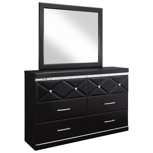 Signature Design by Ashley Fancee 6-Drawer Dresser with Faux Crystal Accents & Mirror