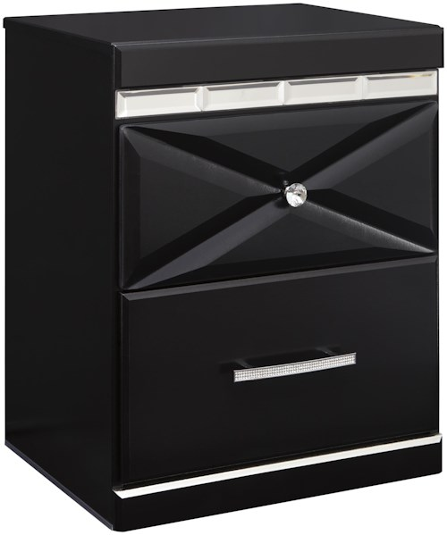 Signature Design by Ashley Fancee Two Drawer Night Stand with Dual USB Charger & Faux Crystal Accents