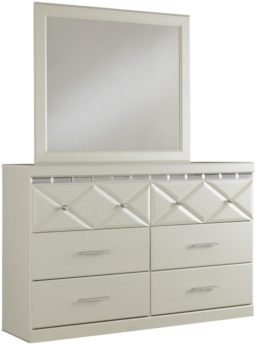 Signature Design by Ashley Dreamur 6-Drawer Dresser with Faux Crystal Accents & Mirror