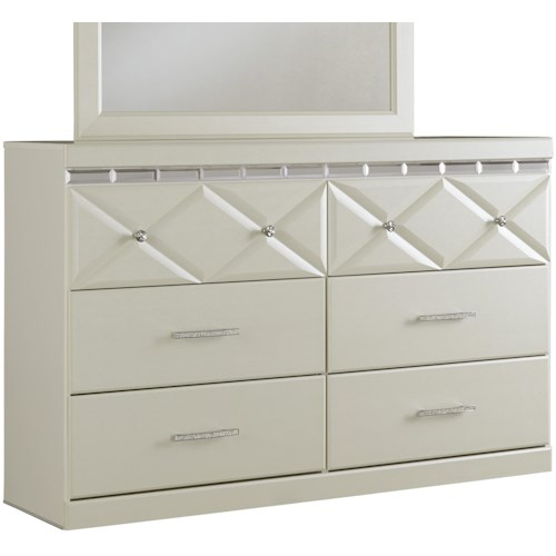 Signature Design by Ashley Dreamur 6-Drawer Dresser with Faux Crystal Accents
