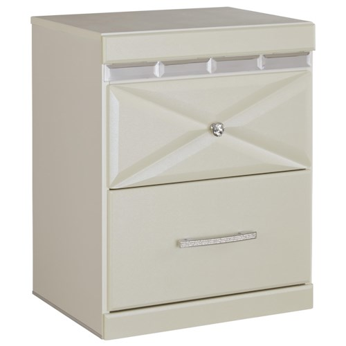 Signature Design by Ashley Dreamur Two Drawer Night Stand with Dual USB Charger & Faux Crystal Accents