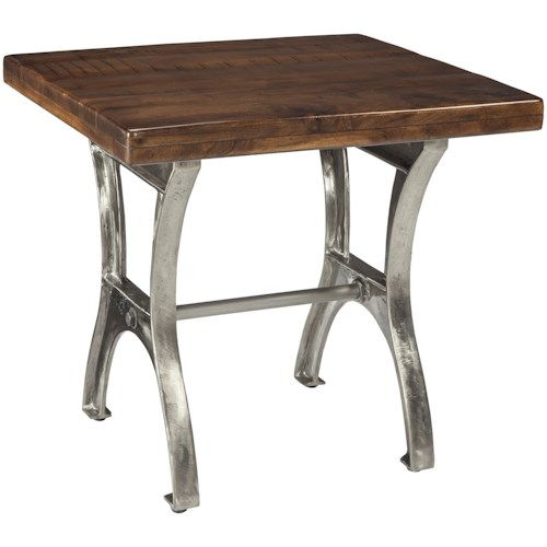 Signature Design by Ashley Dresbane Rectangular End Table with Iron Base and Solid Wood Top