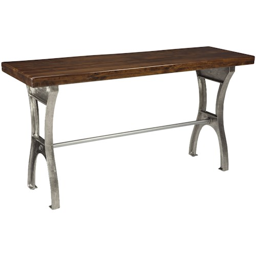 Signature Design by Ashley Dresbane Sofa Table with Iron Base and Solid Wood Top