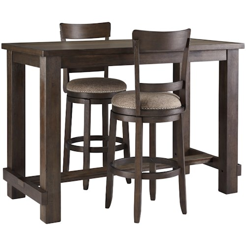 Signature Design by Ashley Drewing Three Piece Pub Table & Chair Set