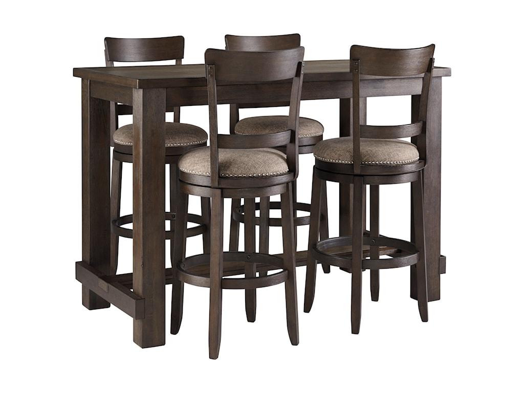 Signature Design by Ashley DrewingFive Piece Chair & Pub Table Set