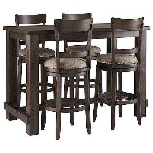Signature Design by Ashley Drewing Five Piece Chair & Pub Table Set