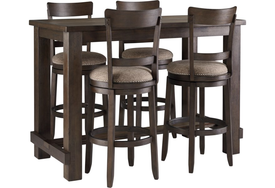 Drewing Five Piece Chair Pub Table Set By Signature Design Ashley At Houston S Yuma Furniture