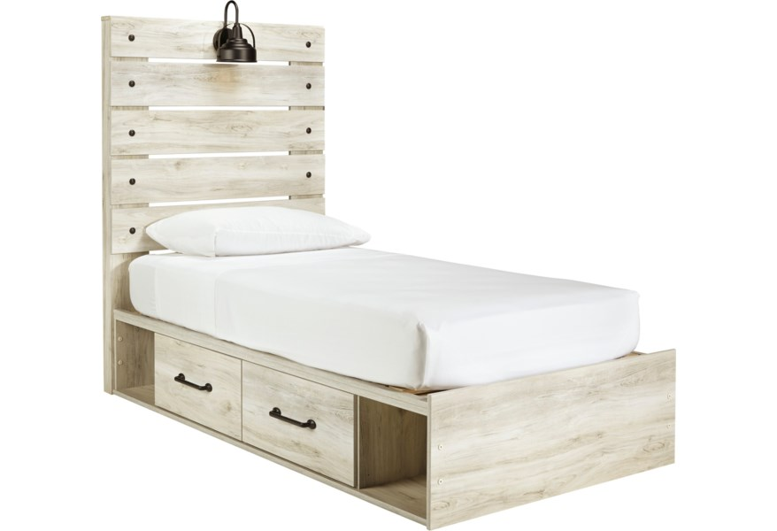 Signature Design By Ashley Cambeck Rustic Twin Storage Bed With 4 Drawers Industrial Light Standard Furniture Platform Beds Low Profile Beds