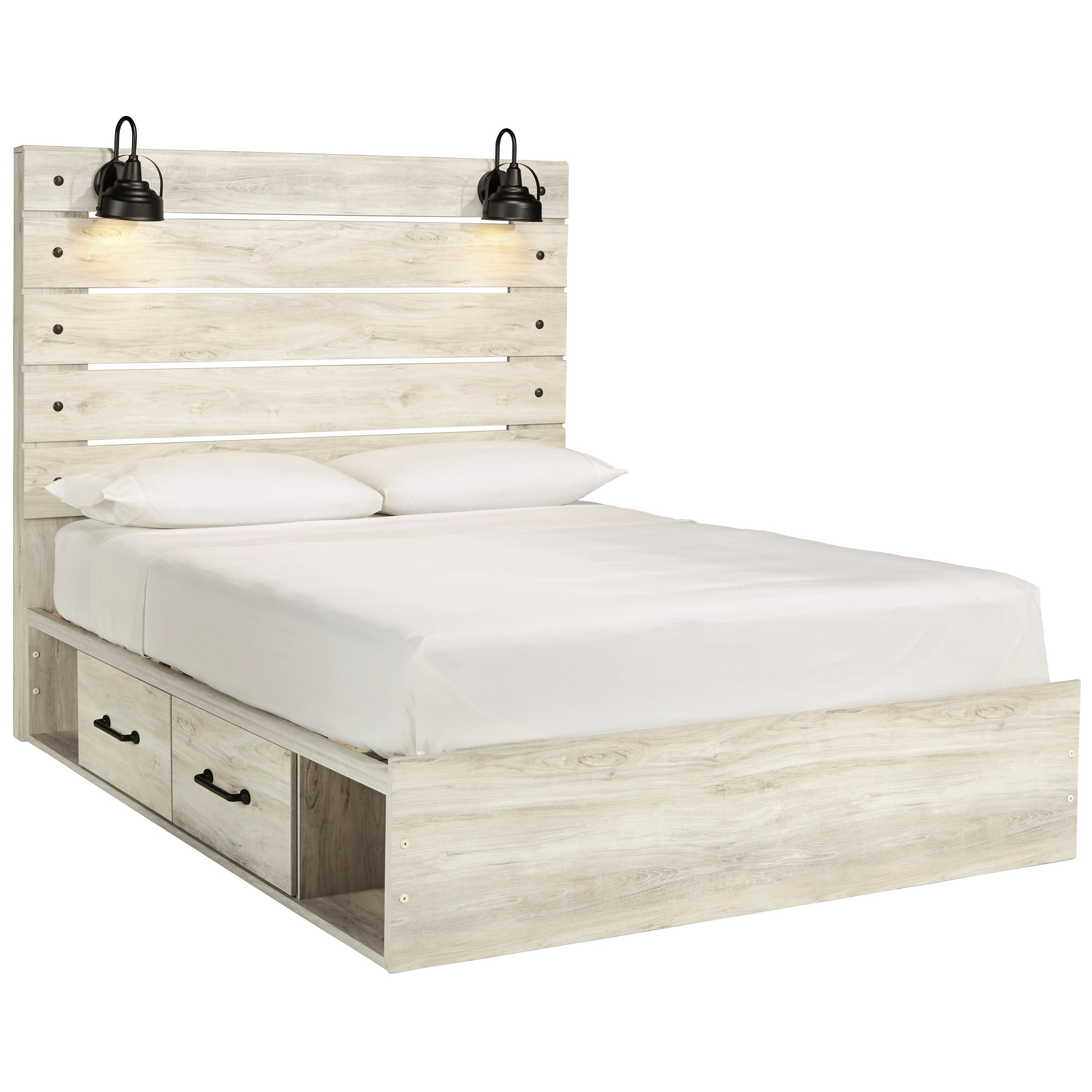 Signature Design By Ashley Cambeck Rustic Queen Storage Bed With 2 Drawers Industrial Lights Royal Furniture Platform Beds Low Profile Beds