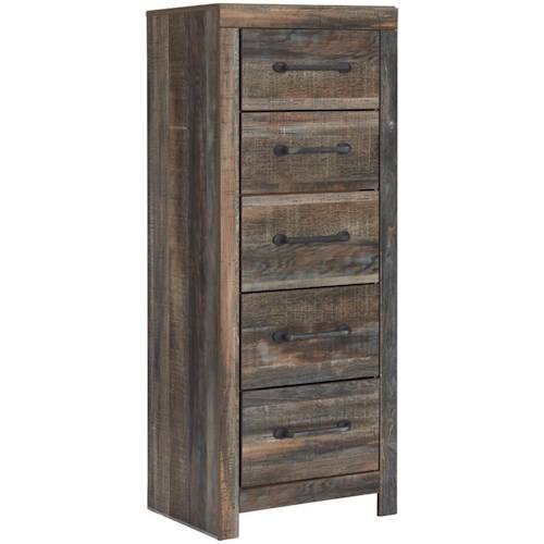 Signature Design by Ashley Drystan Rustic Narrow Five Drawer Chest