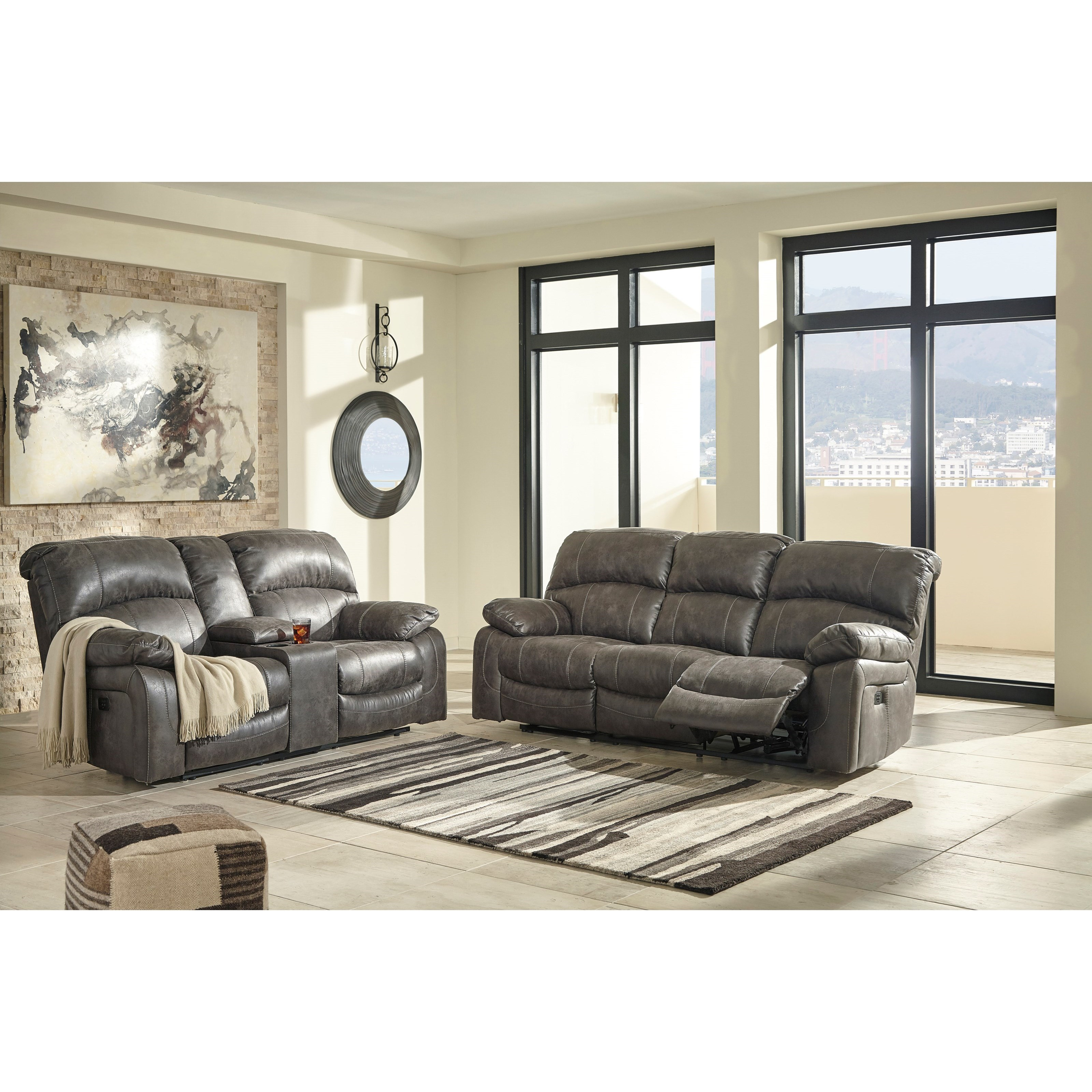 ... Design By Ashley Dunwell Reclining Living Room Group. Shown In: Steel  Dunwell Steel