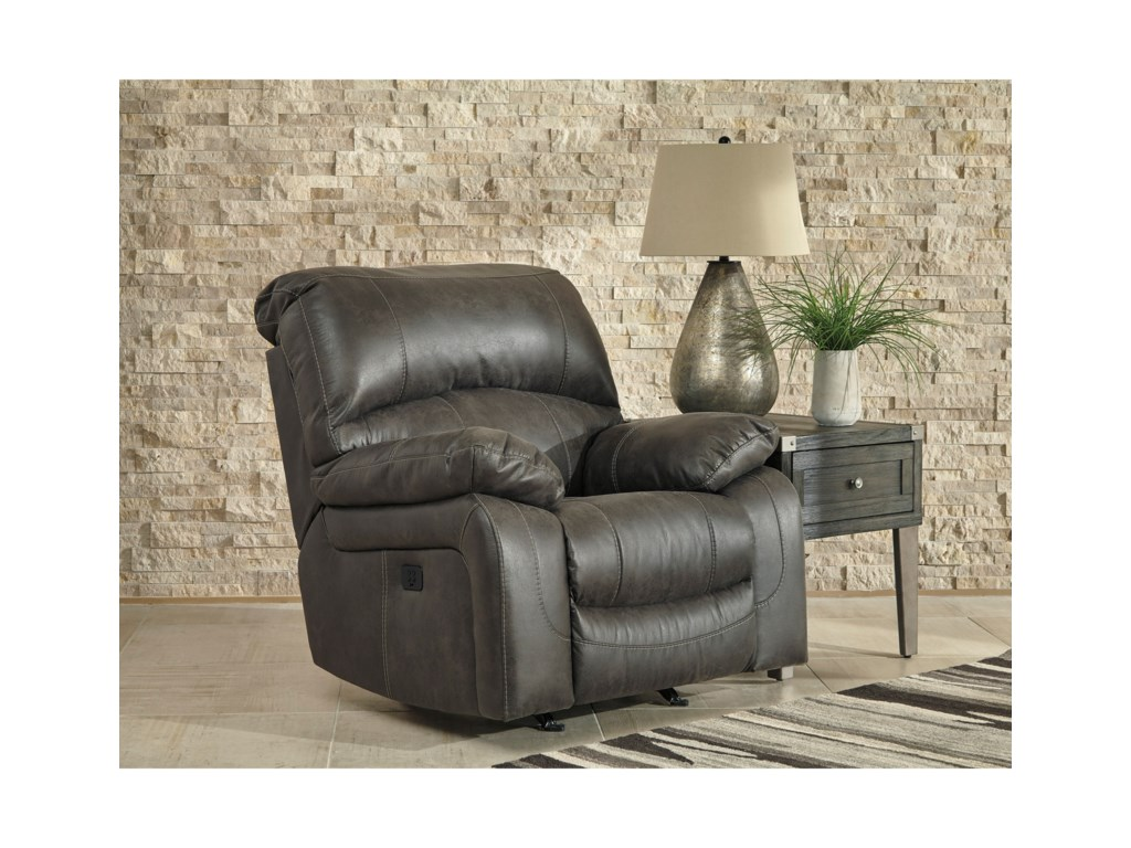 Signature Design by Ashley DunwellPower Rocker Recliner w/ Adjustable Headrest