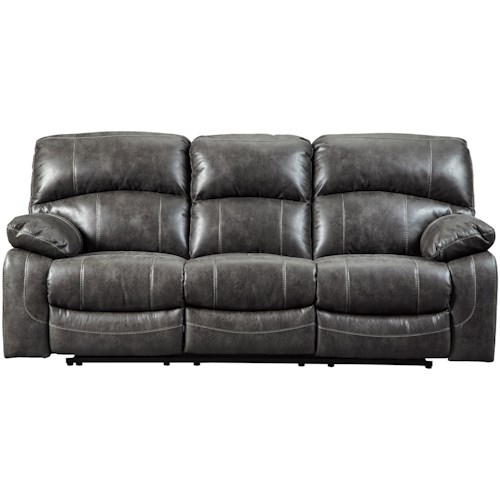 Signature Design By Ashley Dunwell Faux Leather Reclining Sofa W Adjule Headrests